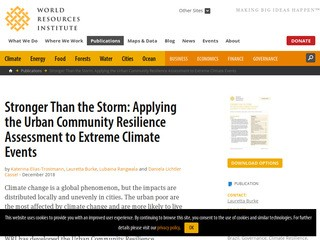 Stronger Than the Storm: Applying the Urban Community Resilience Assessment to Extreme Climate Events