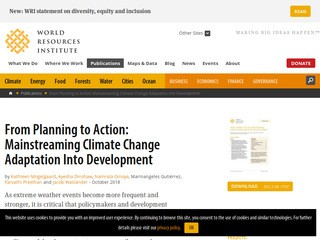 From Planning to Action: Mainstreaming Climate Change Adaptation Into Development