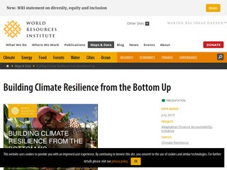 Building Climate Resilience from the Bottom Up