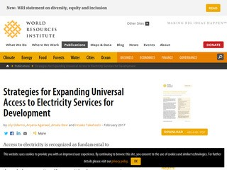 Strategies for Expanding Universal Access to Electricity Services for Development