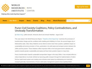 Pune: Civil Society Coalitions, Policy Contradictions, and Unsteady Transformation