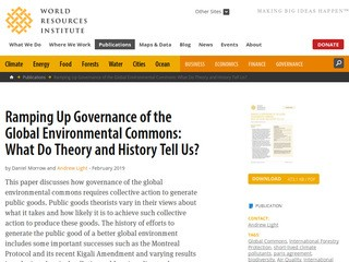 Ramping Up Governance of the Global Environmental Commons: What Do Theory and History Tell Us?
