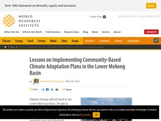 Lessons on Implementing Community-Based Climate Adaptation Plans in the Lower Mekong Basin