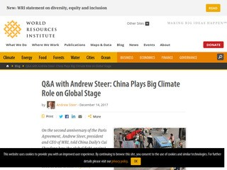 Q&A with Andrew Steer: China Plays Big Climate Role on Global Stage