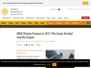 MDB Climate Finance in 2017: The Good, the Bad and the Urgent