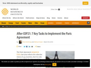 After COP21: 7 Key Tasks to Implement the Paris Agreement