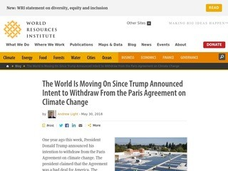 The World Is Moving On Since Trump Announced Intent to Withdraw From the Paris Agreement on Climate Change