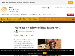 """Pay-As-You-Go"" Solar Could Electrify Rural Africa"