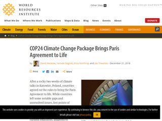 COP24 Climate Change Package Brings Paris Agreement to Life