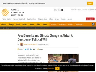 Food Security and Climate Change in Africa: A Question of Political Will