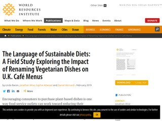The Language of Sustainable Diets: A Field Study Exploring the Impact of Renaming Vegetarian Dishes on U.K. Café Menus