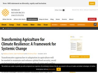 Transforming Agriculture for Climate Resilience: A Framework for Systemic Change