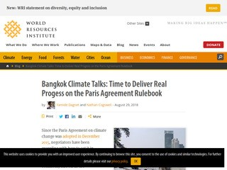 Bangkok Climate Talks: Time to Deliver Real Progress on the Paris Agreement Rulebook