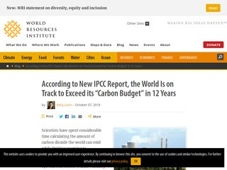 "According to New IPCC Report, the World Is on Track to Exceed its ""Carbon Budget"" in 12 Years"