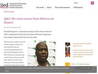 Q&A: We must ensure Paris delivers on finance, Evans Njewa, Malawi