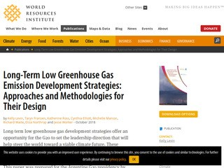Long-Term Low Greenhouse Gas Emission Development Strategies: Approaches and Methodologies for Their Design