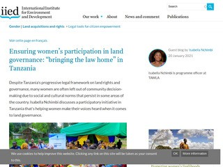 "Ensuring women's participation in land governance: ""bringing the law home"" in Tanzania"
