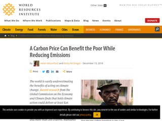 A Carbon Price Can Benefit the Poor While Reducing Emissions