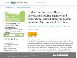 Understanding local climate priorities: applying a gender and generation focus