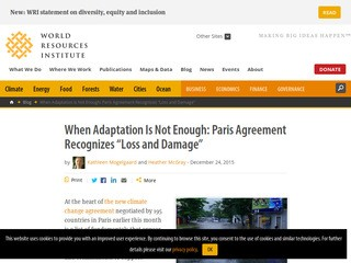 "When Adaptation Is Not Enough: Paris Agreement Recognizes ""Loss and Damage"""