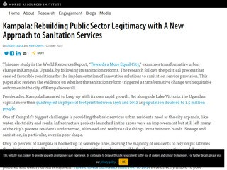 Kampala: Rebuilding Public Sector Legitimacy with A New Approach to Sanitation Services
